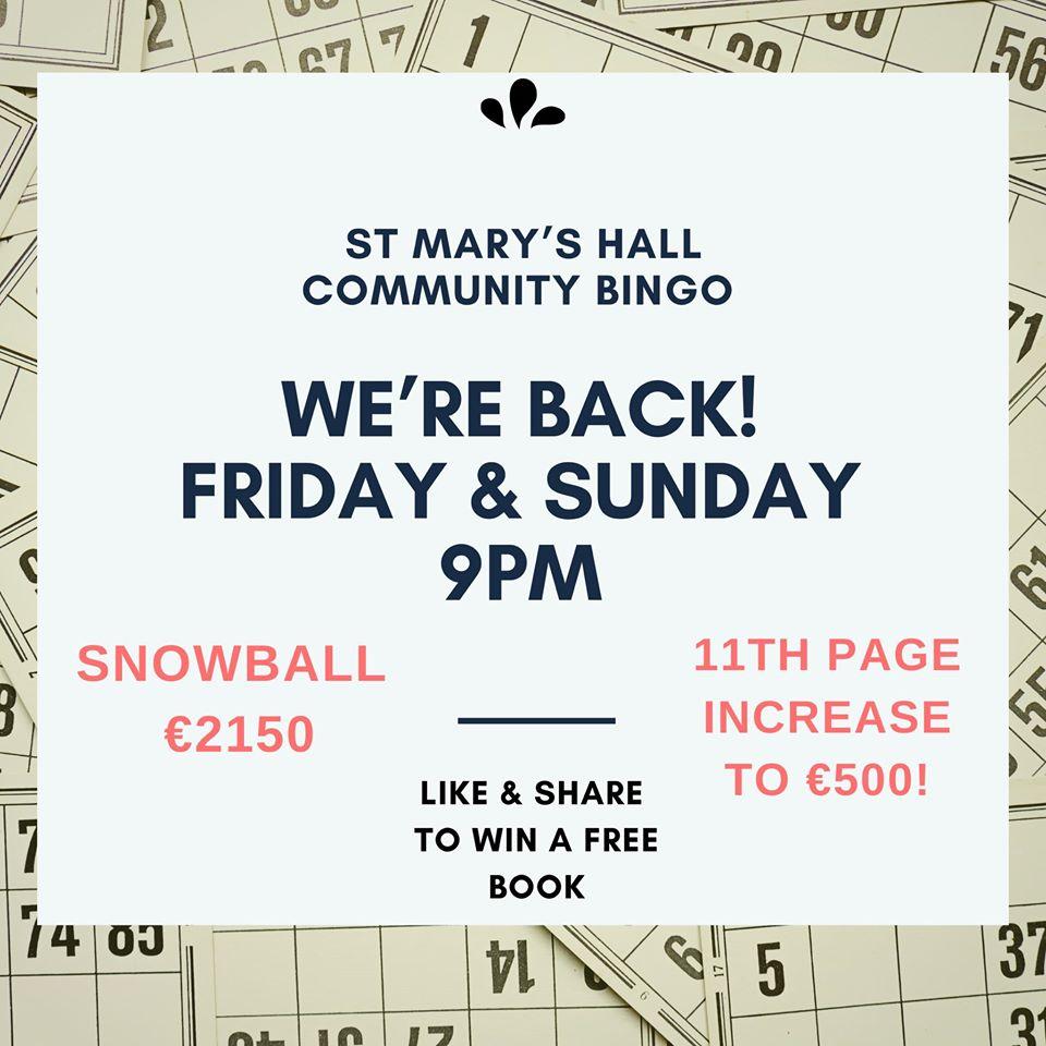 Community Bingo at St Marys Hall - Sunday
